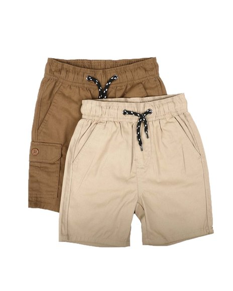 Arcade Styles - 2Pk Twill Cargo & Solid Shorts (4-7)