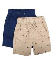 Boys - 2Pk All Over Print & Solid Twill Shorts (4-7)-2623609
