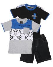 Arcade Styles - 3 Pc Color Block Paint Splatter Tee, Taped Shoulder Tee & Denim Shorts Set (2T-4T)-2624788