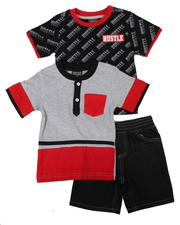 Boys - 3 Pc All Over Print Tee, Color Block Tee & Denim Shorts Set (2T-4T)-2624803