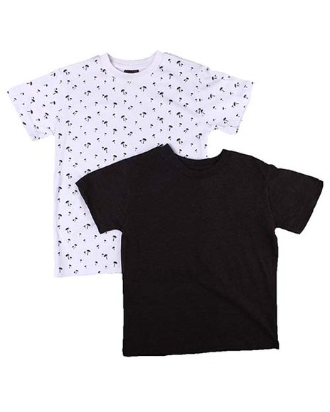 Arcade Styles - 2 Pack Solid & Printed Crew Neck T-Shirts (2T-4T)