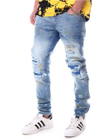 Jordan Craig - Sean Slim fit Jean with Vegan Leather Rib detail and Paint Splatter