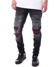 Jordan Craig - Sean Slim fit Jean with Vegan Leather Rib detail and Paint Splatter-2627029