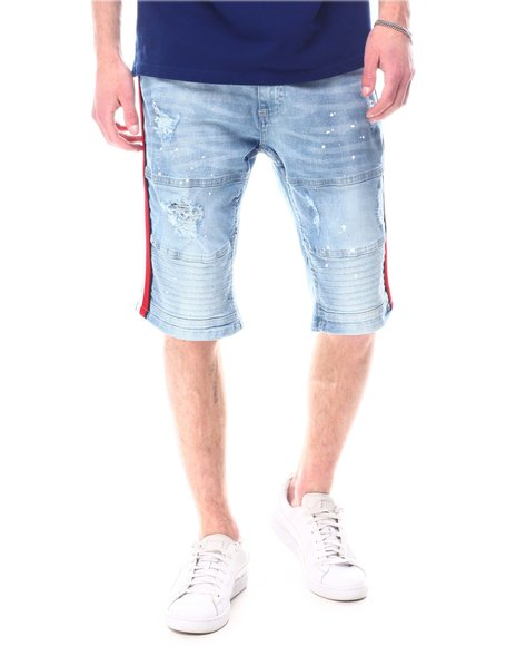 Buyers Picks - Ripped Biker Short  w Paint and Tape Detail