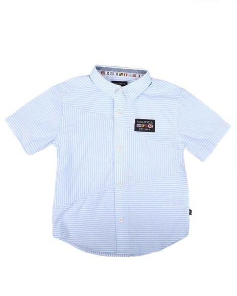 Nautica - Striped Diagonal Piecing Flag Logo Shirt (4-7)