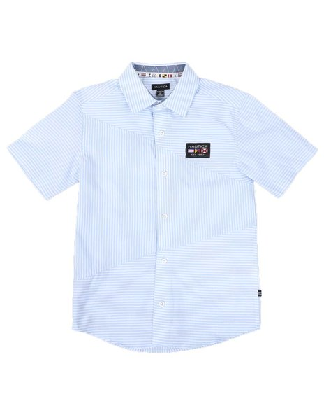 Nautica - Striped Diagonal Piecing Flag Logo Shirt (8-20)