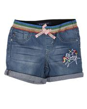 Vigoss Jeans - Pull On Denim Shorts W/ Rainbow Waist Detail (7-14)-2625699