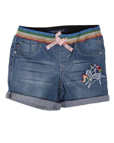 Vigoss Jeans - Pull On Denim Shorts W/ Rainbow Waist Detail (7-14)