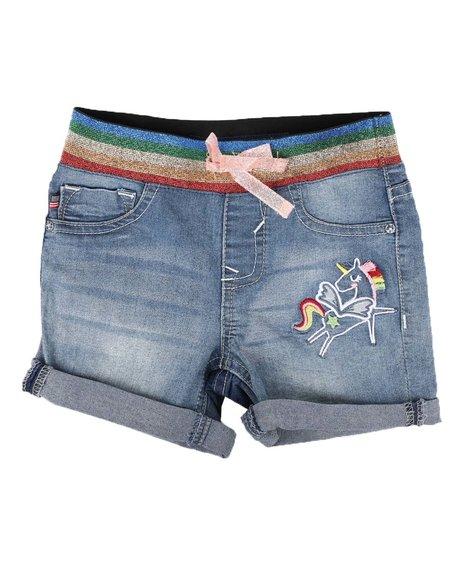 Vigoss Jeans - Pull On Denim Shorts W/ Rainbow Waist Detail (4-6X)