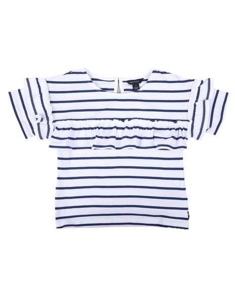 Nautica - Striped Top W/ Chest & Sleeve Ruffles (4-6X)