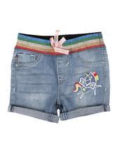 Bottoms - Pull On Denim Shorts W/ Rainbow Waist Detail (2T-4T)-2626853