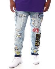 SMOKE RISE - Graffiti Cargo Denim Jeans (B&T)-2625092