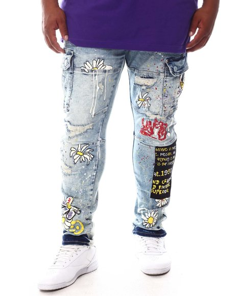 SMOKE RISE - Graffiti Cargo Denim Jeans (B&T)