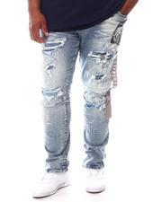 SMOKE RISE - Rip & Repair Patched Denim Jeans (B&T)-2625099