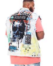 SMOKE RISE - Graphic Skull Color Splatter Denim Vest (B&T)-2620806
