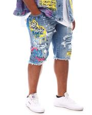 SMOKE RISE - Graphic Color Splatter Denim Shorts (B&T)-2620817