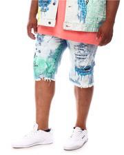 SMOKE RISE - Graphic Color Splatter Denim Shorts (B&T)-2625080