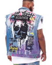 SMOKE RISE - Graphic Skull Color Splatter Denim Vest (B&T)-2625113
