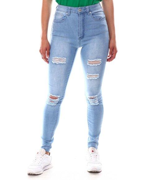 Fashion Lab - High Waist Basic Rip Off Skinny Jeans