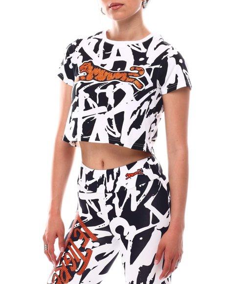 Le Tigre - Graffiti Print Crop Tee