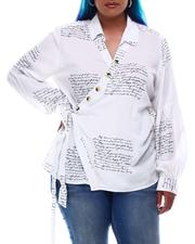 Women - Drama Sleeve  Wrap Top In Verbiage Print (Plus Size)-2626296