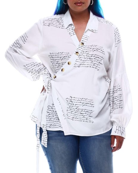 Fashion Lab - Drama Sleeve  Wrap Top In Verbiage Print (Plus Size)