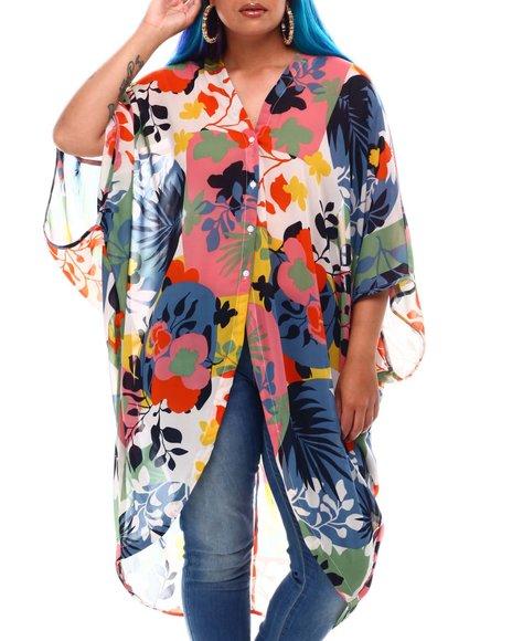 Fashion Lab - Button Down Kimono Sleeve Blouse (Plus Size)