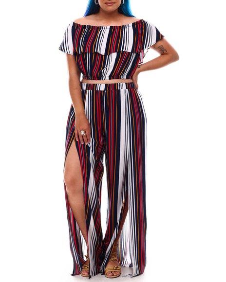 Fashion Lab - Off Shoulder Ruffle Top W/Slit Leg Pant Set ( Plus Size)