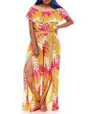 Fashion Lab - Off Shoulder Ruffle Top W/Slit Leg Pant Set  ( Plus Size)-2627948