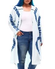 Women - L/S Roll Slit Side Denim Duster Tie Dye (Plus Size)-2627936