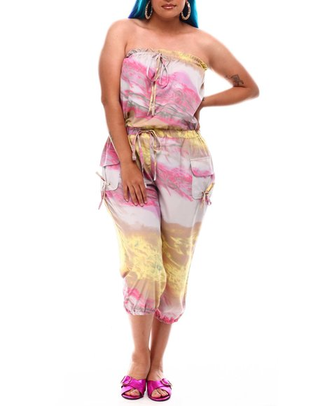 Fashion Lab - Strapless Cargo Pocket Jumpsuit (Plus Size)