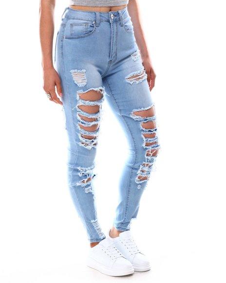 Fashion Lab - High Waist Distressed Rip Off Jeans