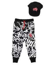 Sets - 2 Pc King Graffiti Print Jogger & Snapback Cap Set (4-7)-2624954