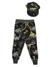 Arcade Styles - Drip Camo Joggers & Snapback Hat Set (4-7)-2628181