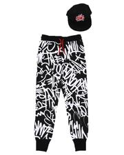 Sweatpants - 2 Pc King Graffiti Print Jogger & Snapback Cap Set (8-18)-2624962