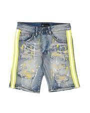 Boys - Destructed Taped Side Bleach Splatter Denim Shorts (8-20)-2632077