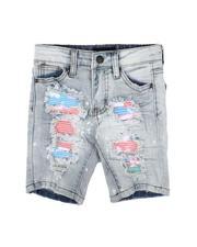 Sizes 2T-4T - Toddler - Paint Splatter Colored Backing Denim Shorts (2-7)-2632224