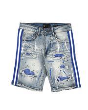 Bottoms - Destructed Taped Side Bleach Splatter Denim Shorts (8-20)-2632059