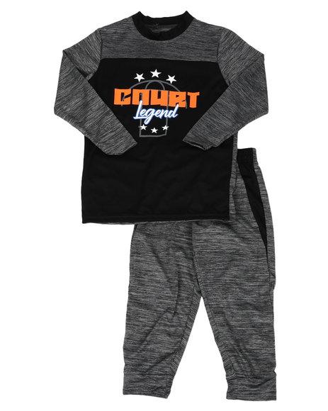 Arcade Styles - 2 Pc Marled Color Block Long Sleeve Shirt & Jogger Pants Set (8-20)