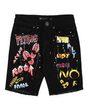 Bottoms - Graffiti Raw Edge Denim Shorts (8-20)-2631891