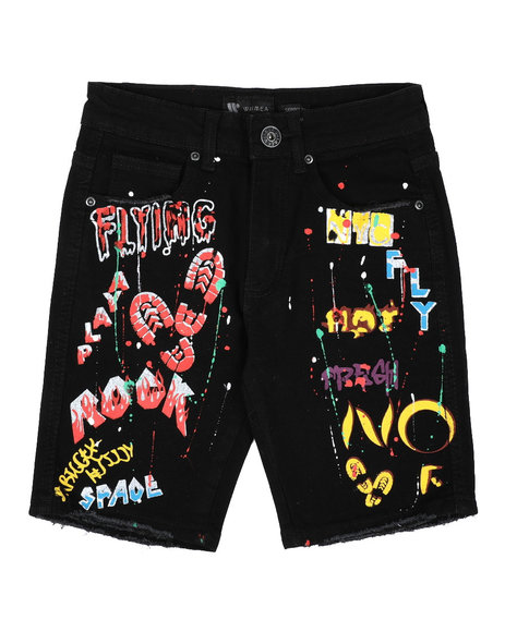 Arcade Styles - Graffiti Raw Edge Denim Shorts (8-20)