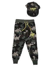 Sweatpants - Drip Camo Joggers & Snapback Hat Set (8-18)-2629224