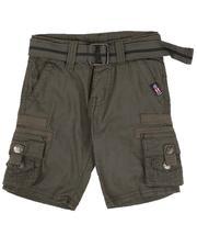 Sizes 2T-4T - Toddler - Washed Poplin Cargo Shorts W/ Herringbone Tape Trim (2T-4T)-2632363