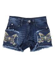 Sizes 7-20 - Big Kids - Embroidered Denim Shorts (7-16)-2634405