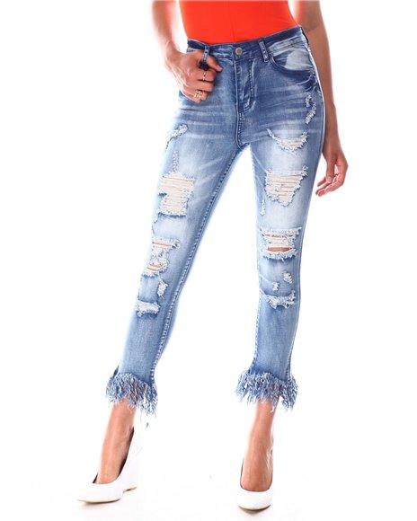 Fashion Lab - High Waist Raw Hem Ripped Jeans
