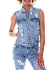 Outerwear - Distressed Denim Vest-2636403
