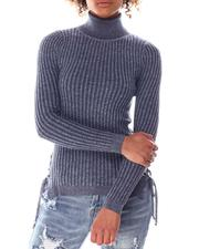 Sweaters - Turtleneck Sweater  W/Side Bottom Lace Up Detail-2636757