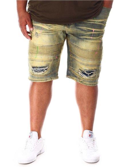 Makobi - Paint Splatter Distressed Biker Shorts (B&T)