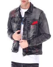 Outerwear - Washed Black Denim Jacket w Red Stitch Detail-2636935