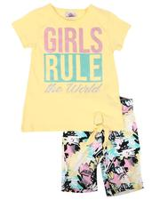 Girls - 2 Pc Girls Rule Tie Front Top & Star Print Bike Shorts Set (4-6X)-2638620